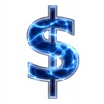 electric 3d dollar currency sign